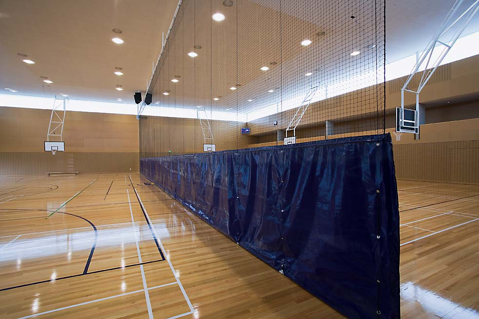 Auckland Grammar Dividing Curtains & Ceiling Hung Backboards